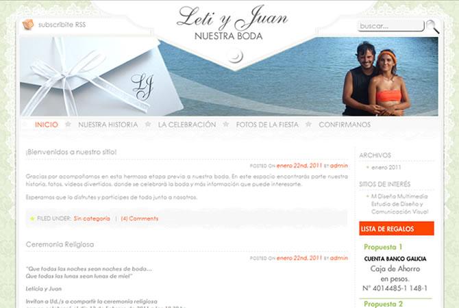 Diseño de sitio web para casamiento, página principal.