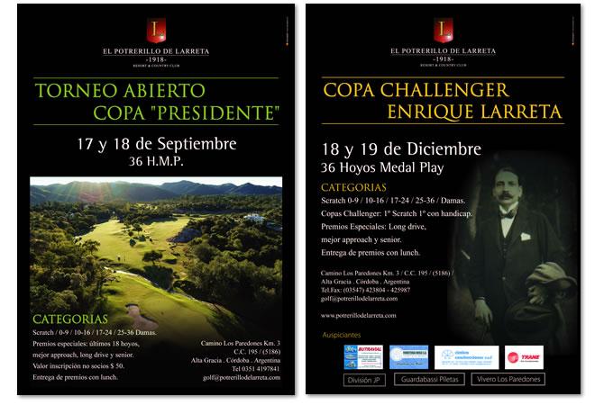 Diseño de afiches para promocionar torneos de golf.