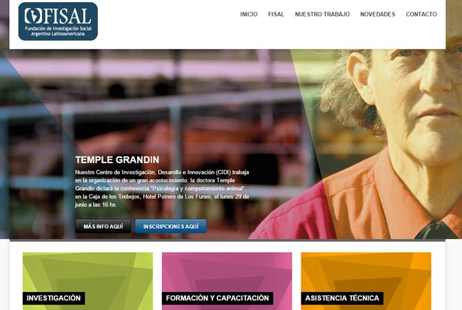 Diseño de sitio web para FISAL, página de Inicio con slider con los eventos más importantes.