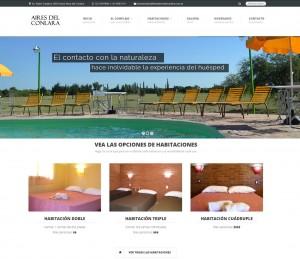 Página de Inicio, con slider y acceso directo a las habitaciones del hotel.