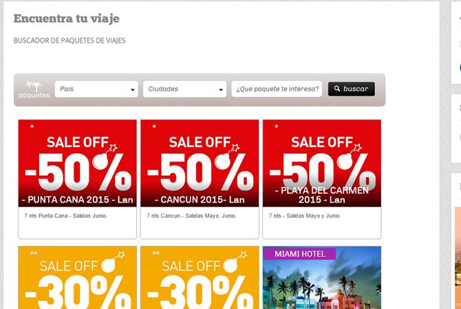 Diseño de link encuentra tu viaje sección con buscador especial.