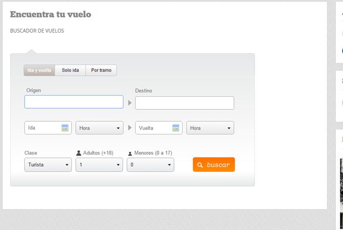 Diseño de link encuentra tu vuelo sección con buscador especial.
